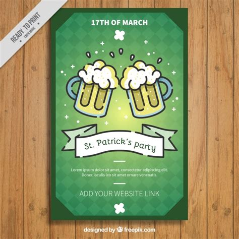 vintage st template vintage leaflet template with beers for st s day