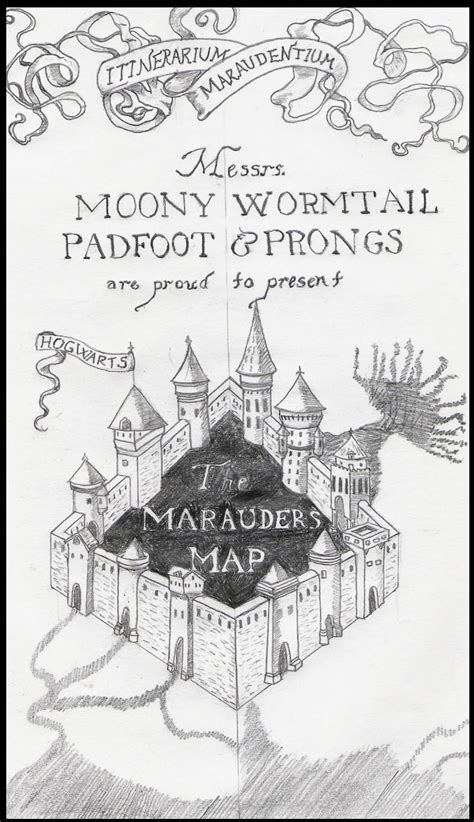 marauders map coloring page marauder s map by adelbrand on deviantart