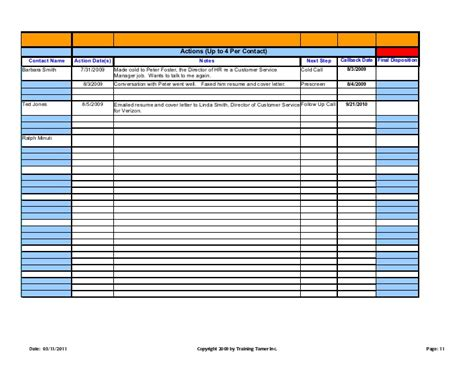 Work Search Log Template
