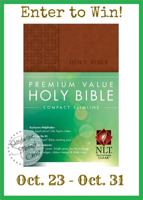 Bible Giveaway - win a bible giveaway satisfaction through christ