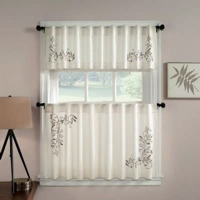 chf industries scroll leaf tailored tiered kitchen curtain