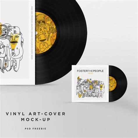 vinyl disc cover mockup free psd template at