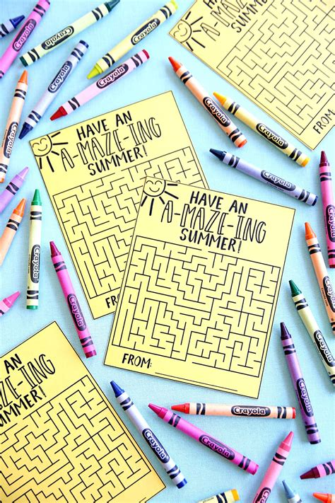 amazing summer maze cards  printable happy  lucky