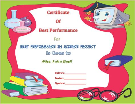 best student certificate template best science student award certificate template