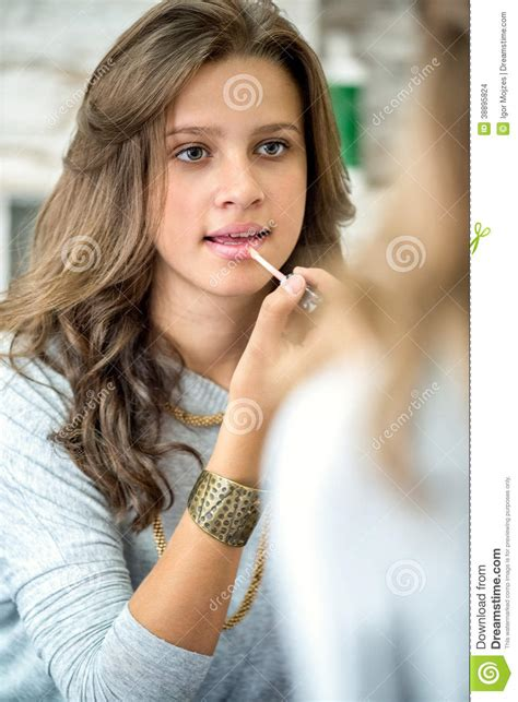 beautiful teen beautiful teen girl with lip gloss stock photo image