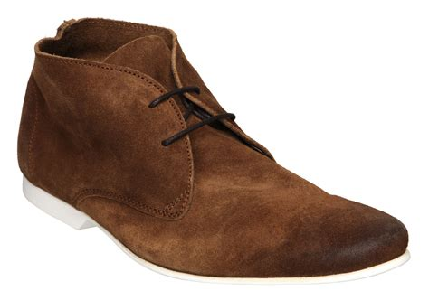 dune mens cabled brown suede lace up flat ankle desert