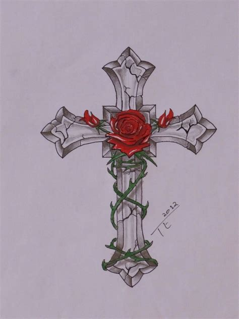tattoo flash crosses cross with rose ink pinterest rose tattoo and