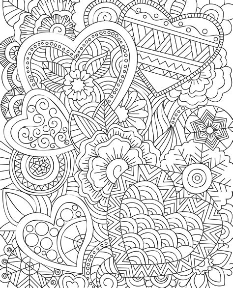 Line Arts clipart floral hearts line