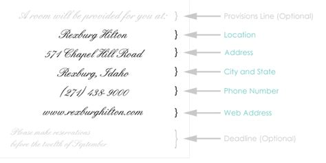 wedding website enclosure card template wording to use when giving out room block information to