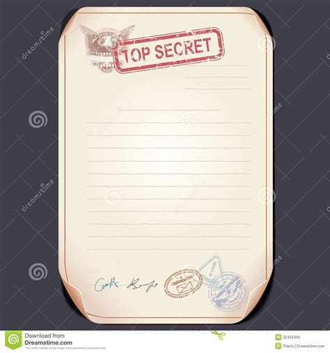 file template top secret document on table vector template royalty
