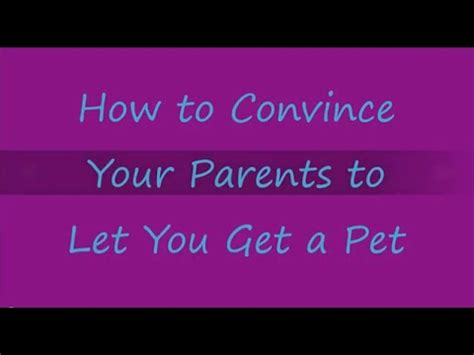 how to convince your parents to let you get a pet