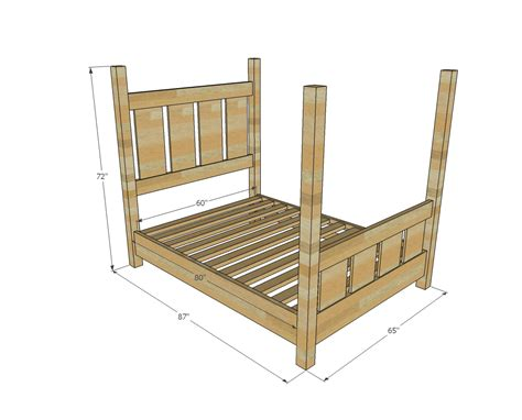 diy four poster bed ana white slatted four post farmhouse bed queen diy projects