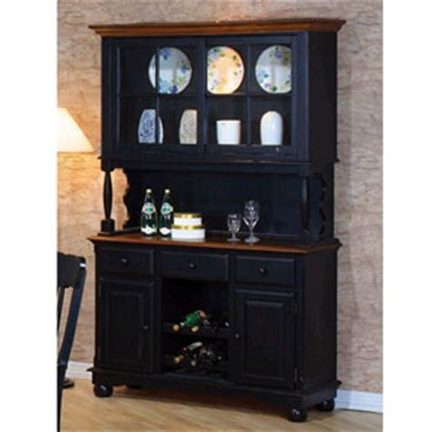 buffet hutch china cabinets classic country black pine