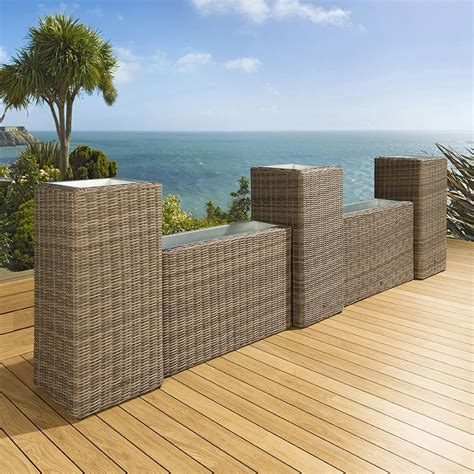 Luxury Planters by Luxury Outdoor Garden Wall Set Of 5 Mocha Rattan