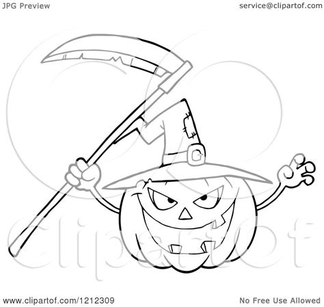 cartoon of an outlined scary halloween pumpkin with a