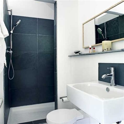 small black and white shower room