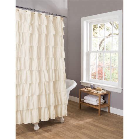 ivory ruffle shower curtain lush decor ruffle ivory shower curtain