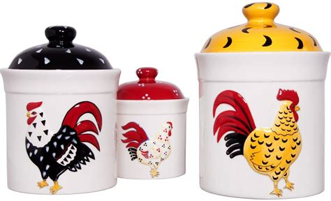 rooster canisters kitchen products country set of 3 rooster storage canisters