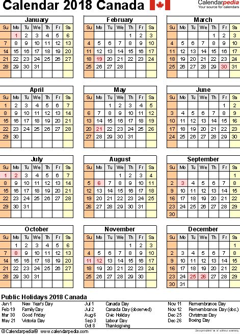 Calendar 2018 Canada Excel March 2018 Calendar Canada Monthly Calendar Template