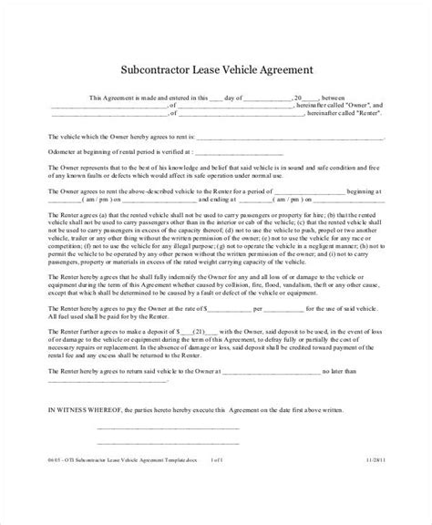 motor vehicle lease agreement template 12 vehicle lease agreement templates docs word free