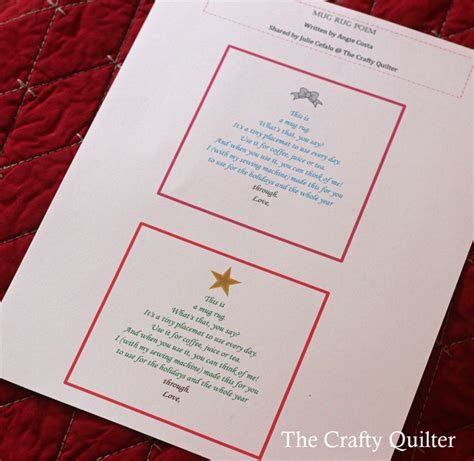 poem rug a mug rug poem and thank you the crafty quilter