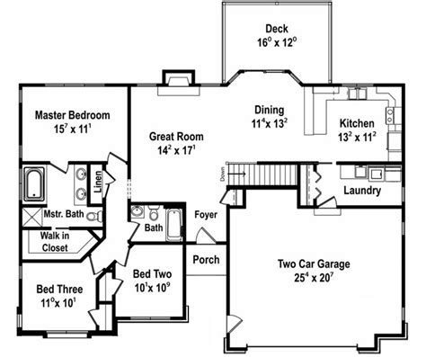 3 bedroom hall kitchen house plans 1481 square feet 3 bedrooms 2 batrooms 2 parking space