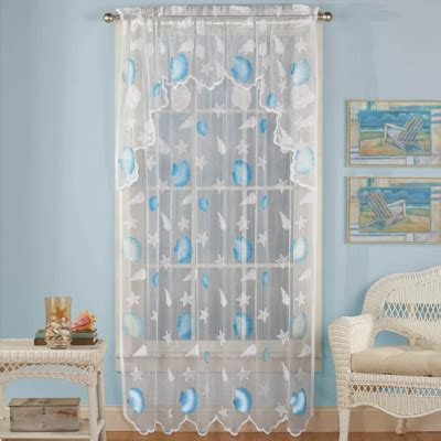 seashell lace curtains coastal seashell lace curtain with valance from