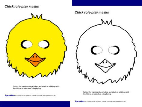 printable chick mask template chick masks sb2192 sparklebox