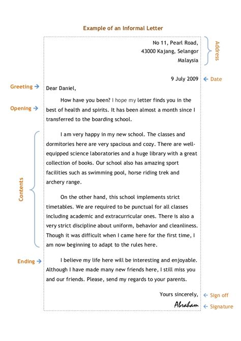 layout of informal letter exles informal letter writing exle