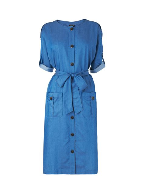 jaeger belted shirt dress in blue chambray lyst
