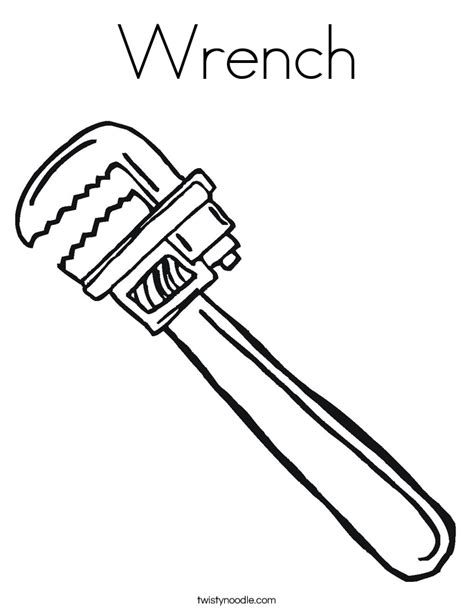 Wrench Coloring Page Twisty Noodle Tools Colouring Pages