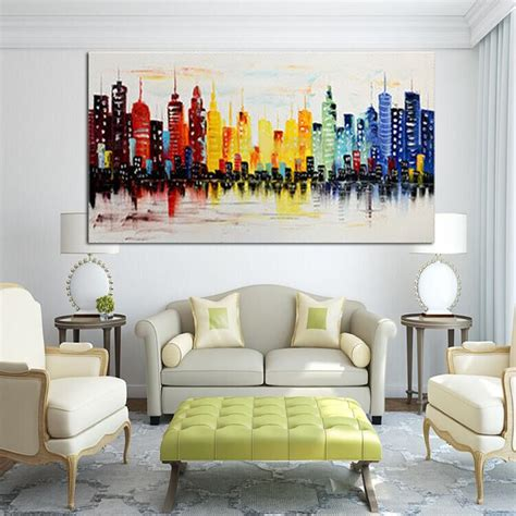 Prints For Living Room - 120x60cm modern city canvas abstract painting print living