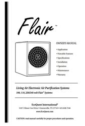 ecoquest flair air purifier owners manual