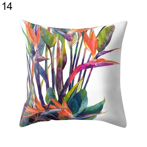 Pillow Multicolor modern multicolor tropical leaves sofa bed throw pillow