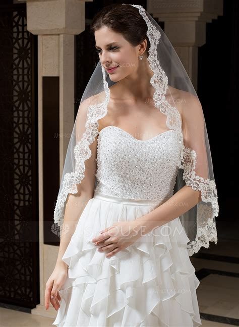 one tier fingertip bridal veils with lace applique edge 006035806 wedding veils jjshouse