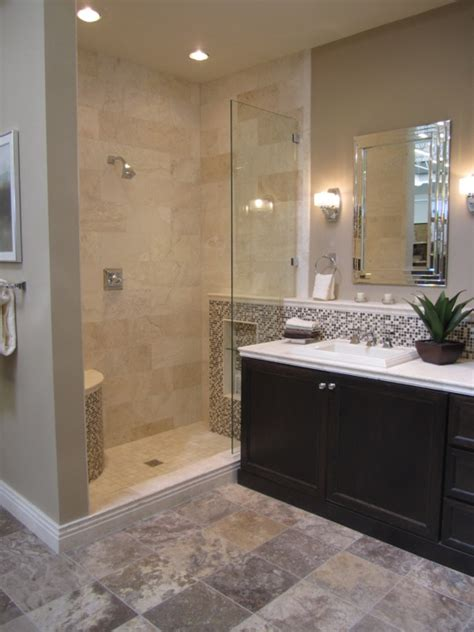 travertine tile shower transitional bathroom