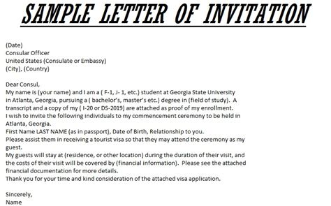 Invitation Letter For Us Visa Consulate Letter Of Invitation For Visa Sle Templates