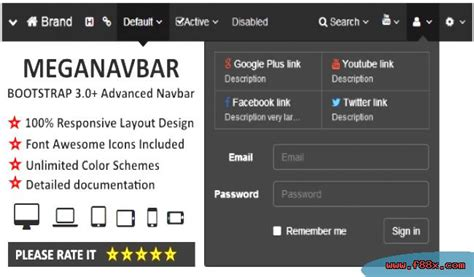 bootstrap layout with left navigation meganavbar advanced navbar for 3 0 bootstrap download css