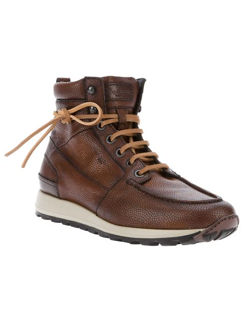 santoni vancouver leather boot in brown for lyst