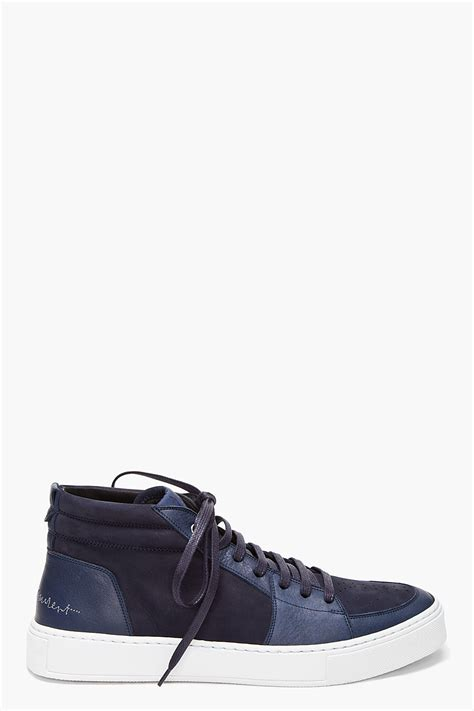 laurent sneakers mens laurent navy mid malibu sneakers in blue for lyst