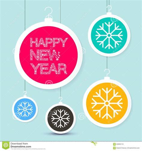 slogan on happy new year happy new year title vector snowflakes slogan stock