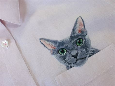 Cat Embroidery Shirt embroidered cat shirts by hiroko kubota
