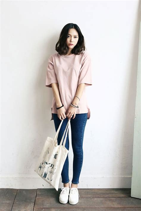 Blouse Denimatasan Denim Import Fashion Wanita pink shirt blue white shoes hair tote korean fashion fashion