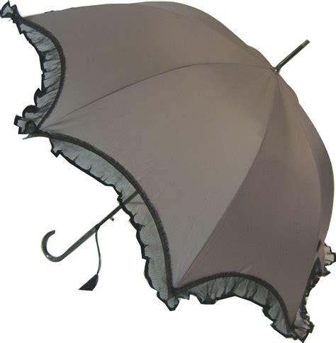 Umbrella Grey scalloped umbrella grey with black lace trim