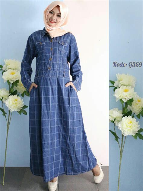 Diskon Besar Besaran Rok Panjang Maxi Denim All Size gamis blue square g359 baju style ootd