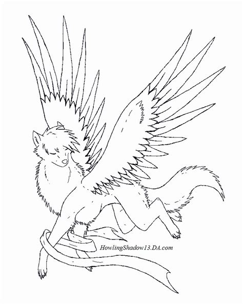 winged wolf coloring page wolf howling at the moon coloring pages winged wolf