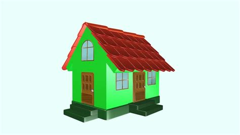 house animated animated construction building of cartoon block house