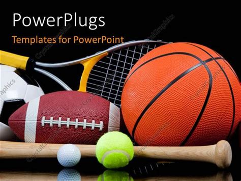 powerpoint template group of sports equipment on black