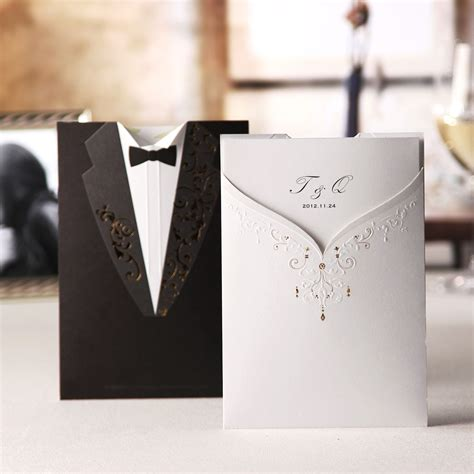 personalized groom style wrap pocket invitation cards set of 20 114024222