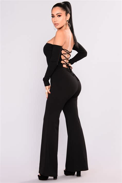 never forget you lace up jumpsuit black
